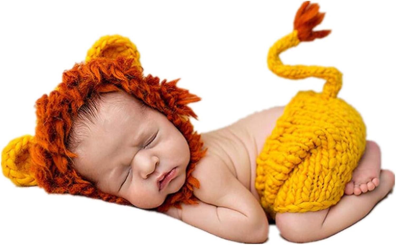 Goldenweek Lindo León Bebé Sombreros Pantalones Ropa de Bebé Traje de Fotografía Accesorios Crochet Recién Nacido Ropa de Punto Ropa para Bebé 0-3 Meses