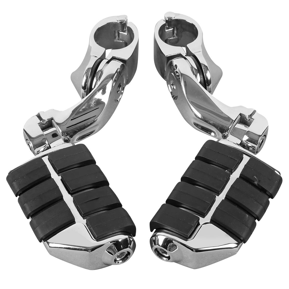 with black rubber grips XMT-MOTO Short Angled Adjustable Highway Footpegs Kit Fits for Motorcycle w//1.25 engine guards,Chrome plated