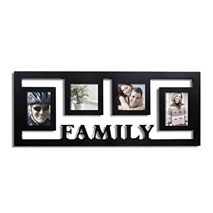 187188b9689 Image Unavailable. Image not available for. Color  Adeco PF0184 4-Opening  Decorative Black Wood Wall Hanging Family Floating Collage Photo Frame