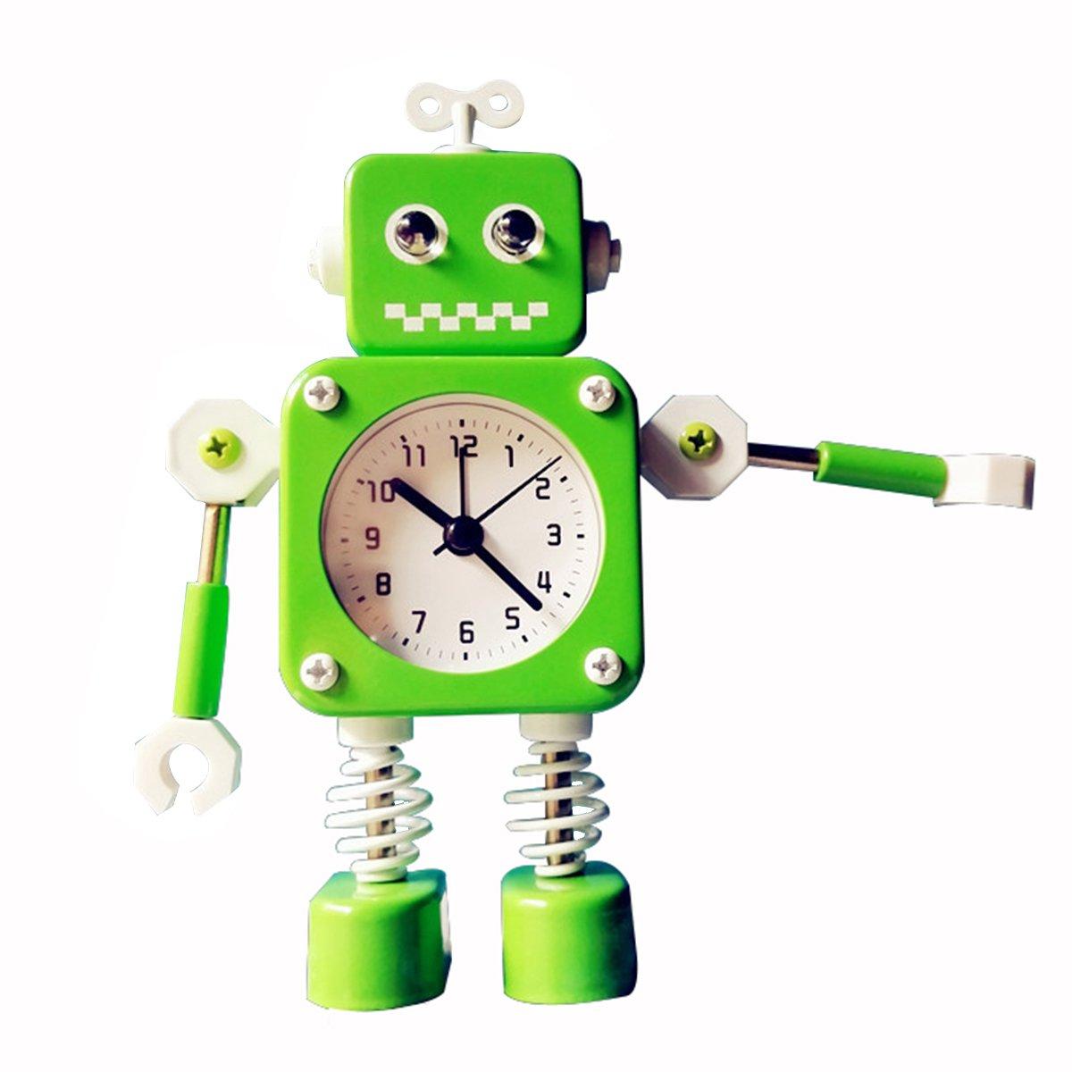 Home Decoration Metal Loud Not-ticking Alarm Clock For -Modern Walking Robot Flash Light Time Clocks (Green)