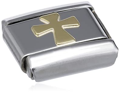 Nomination Composable Classic Religion Cross Stainless Steel and 18K Gold wRWFNP2