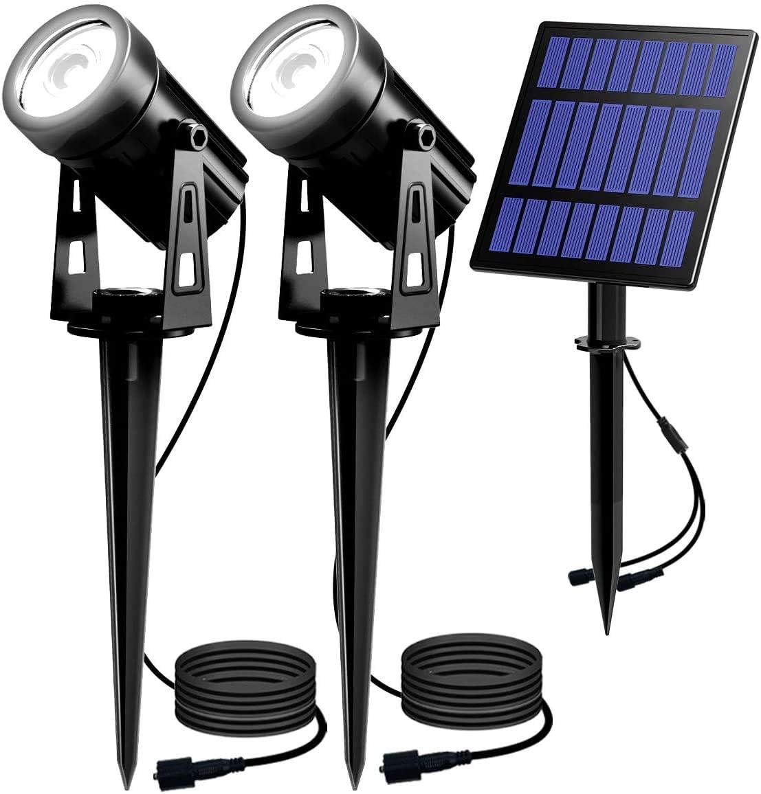 T-SUN 2W Solar Spotlights, LED Solar Powered Landscape Lights Outdoor Waterproof Solar Security Wall Lights Auto ON/Off Dual Head Light for Garden Yard Patio(Warm White)