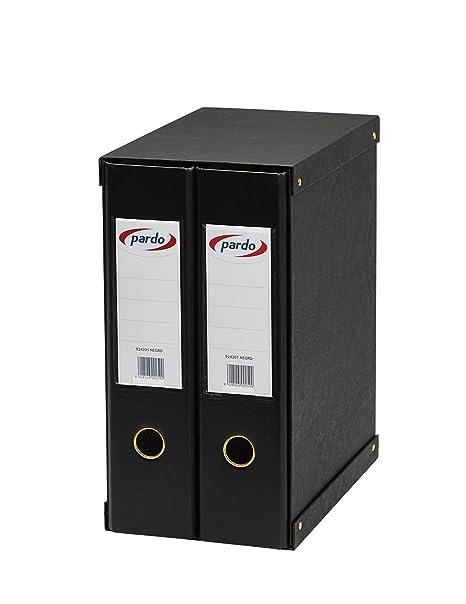 Pardo 924201 - Modulo de 2 archivadores folio, color negro