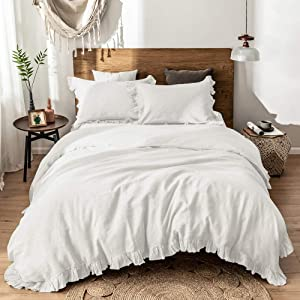 Simple&Opulence 100%Washed Linen Duvet Cover Set-2 Pieces Premium Ruffled Bedding with 1 Comforter Cover and 1 Pillowsham France Flax High End Frill Sets(Twin, White)