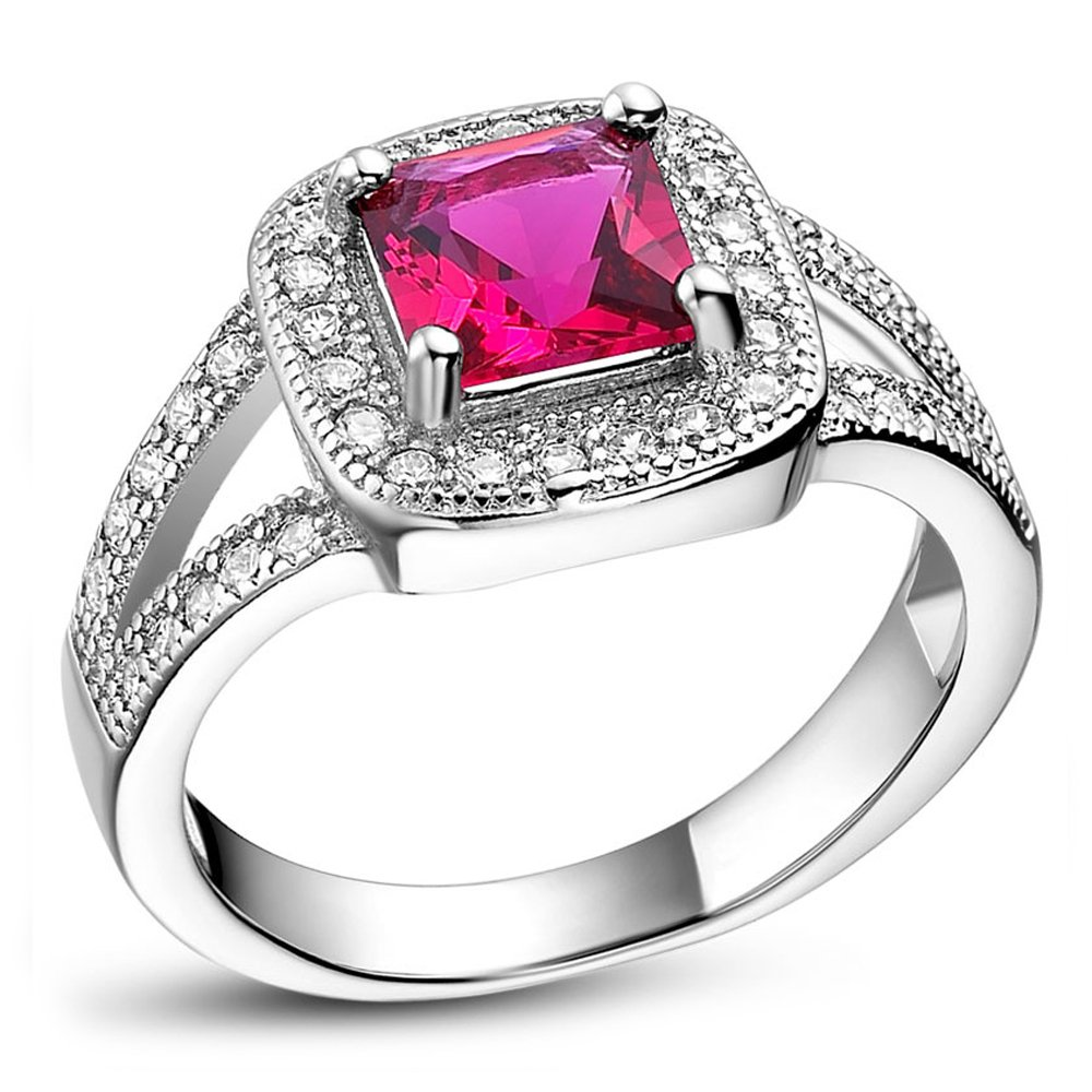 FT-Ring Fashion Square Red Stone Vintage Rings Silver Color Rings Jewelry For Women Wedding Rings