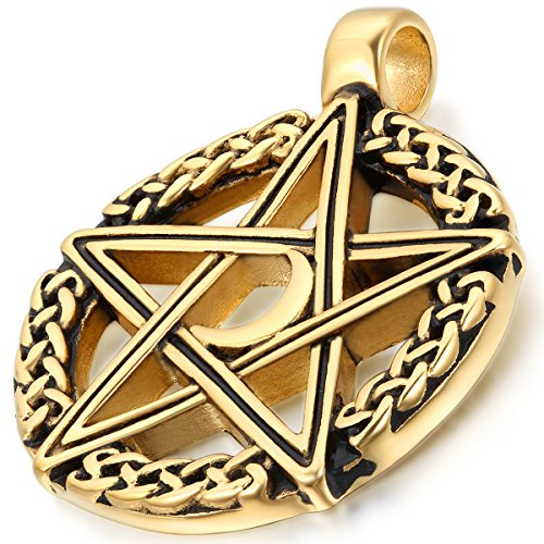 Flongo Men's Rock Stainless Steel Gold Hollowed Pentagram Five Point Star Pendant Necklace, 22 inch Chain, Vintage Style Pentacle Pentagram Crescent Moon Stainless Steel Pendant Necklace for Men Goddess Star Necklace