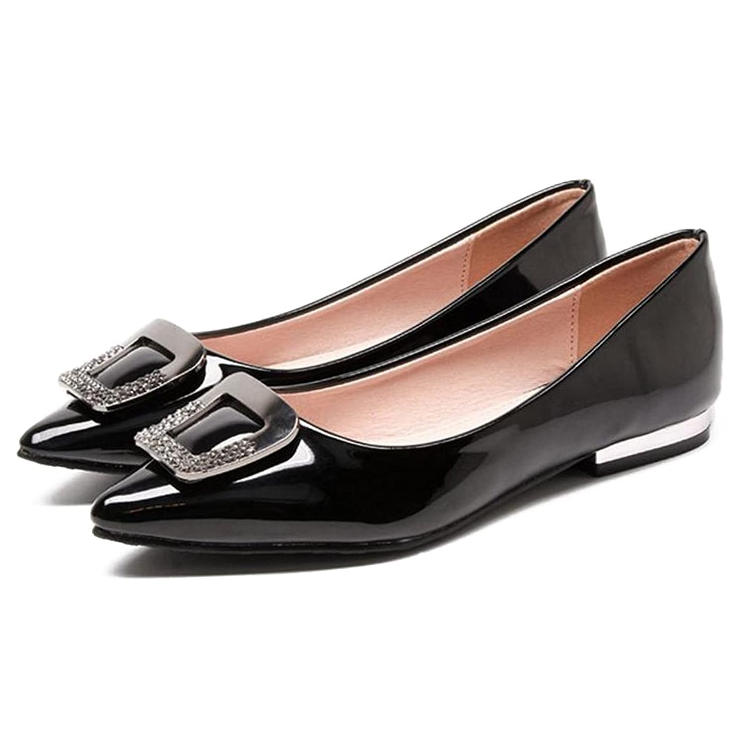 e3cd3c10ab59 Women s Comfort Light Faux Leather Ballet Shoes Classic Pointy Toe Slip On  Flats