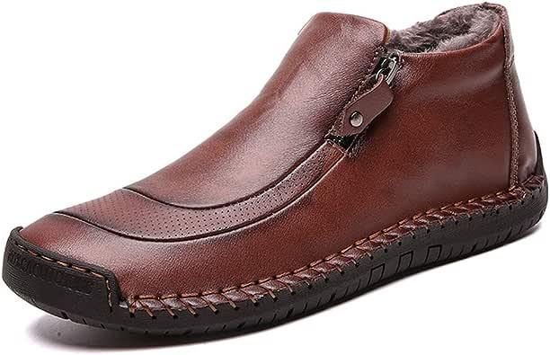 LIEBE721 Botas de Invierno de los Hombres de Velvet Retro cómodos Zapatos de Nieve de Cuero de la Cremallera cómoda para Caballeros Resistente a la abrasión Zapatillas Casual