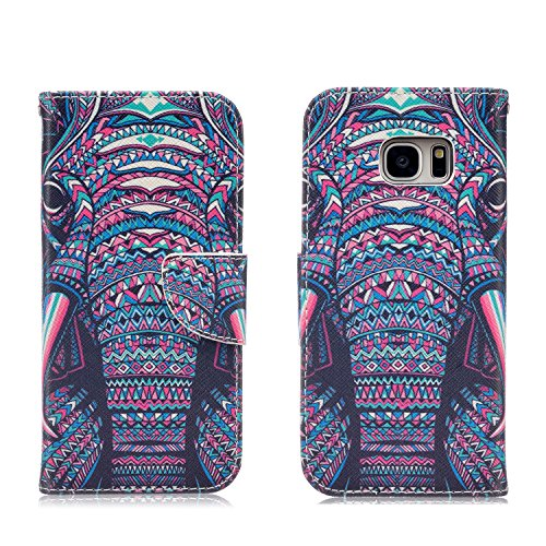 Samsung Galaxy S7 Edge Case,JinLi Printed Pattern Filio Wallet Cellphone Book Protective Cover Designed with Credit Card Slot and Money Holder and Kickstand for Hands Free video (elephant)