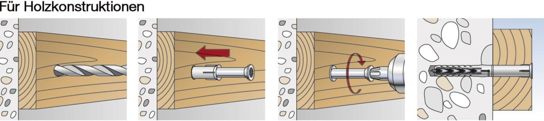 fischer Langschaftd/übel SXRL 8x120 Fus-Multiple Verankerungstiefen zum Befestigen von Fassaden Grau Dachunterkonstruktionen UVM 540131 in Voll-und Lochbaustoffen-50 St/ück-Art-Nr