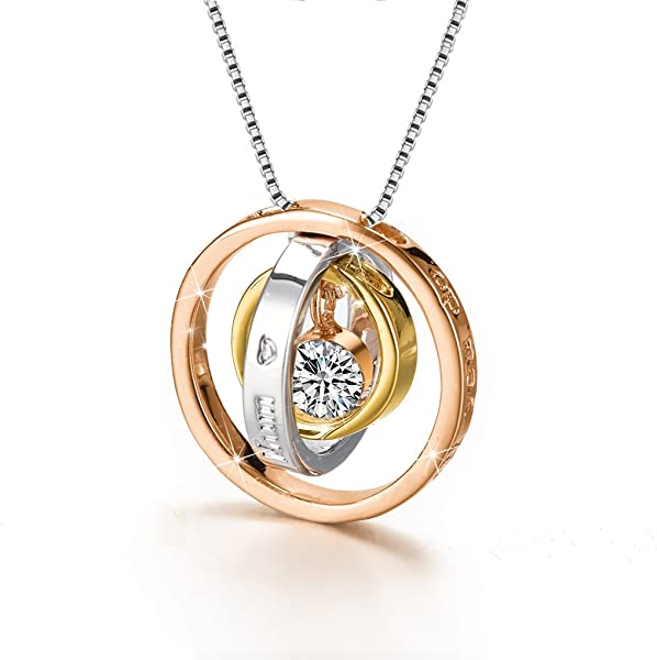 07ad7cbd74ea8 CS Trinity Pendant Necklace with Swarovski Crystal, Rose Gold / Gold Plated  and Silver Fashion Jewelry pendant necklace