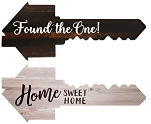 Real Estate Social Media Testimonial Photo Prop Signs, Double Sided- Great for Instagram, Twitter & Facebook Posts (1 Pack, Key - Found The One/Home Sweet Home)