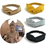 Tidalle Stretchy Headbands Crochet Cotton Hair Accessories Women Wraps Turban Knotted Scrunchies (4 pack cream yellow gray black)