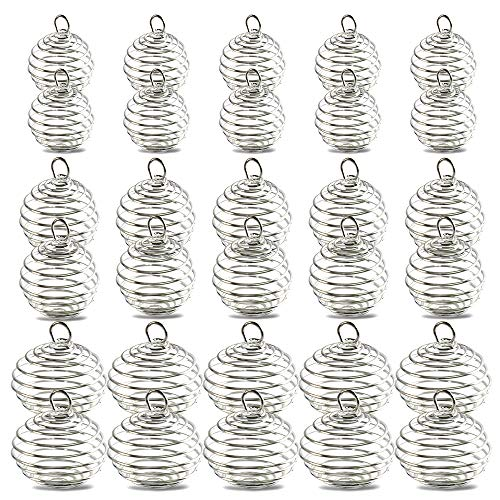 Spiral Bead Cages Pendants, YGDZ 30pcs 3 Sizes Silver Plated Spiral Crystal Stone Holder Cages Pendant for Necklace Jewelry Making (15mm, 25mm, 30mm)