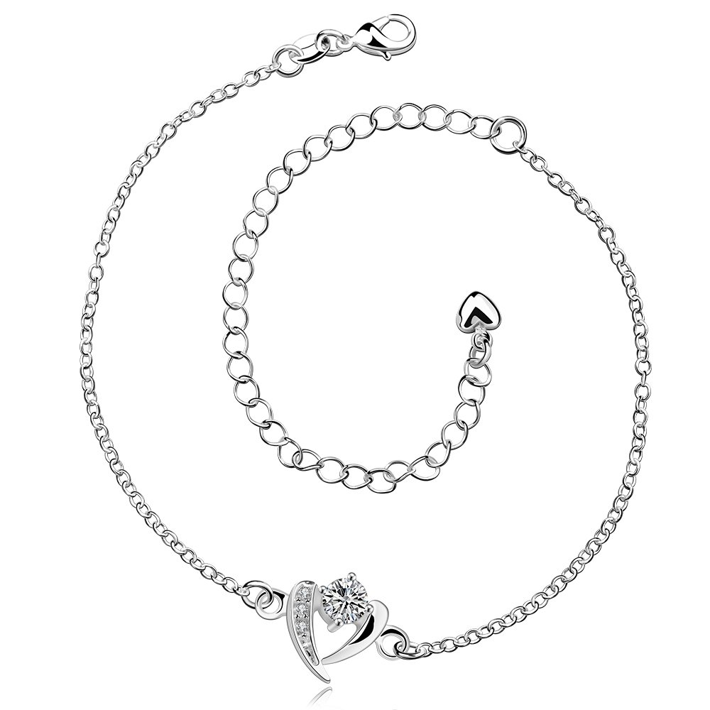 GYAYA Zircon Silver Plated Anklets For Heart Shaped Lucky Clover Flowers (Heart shaped)