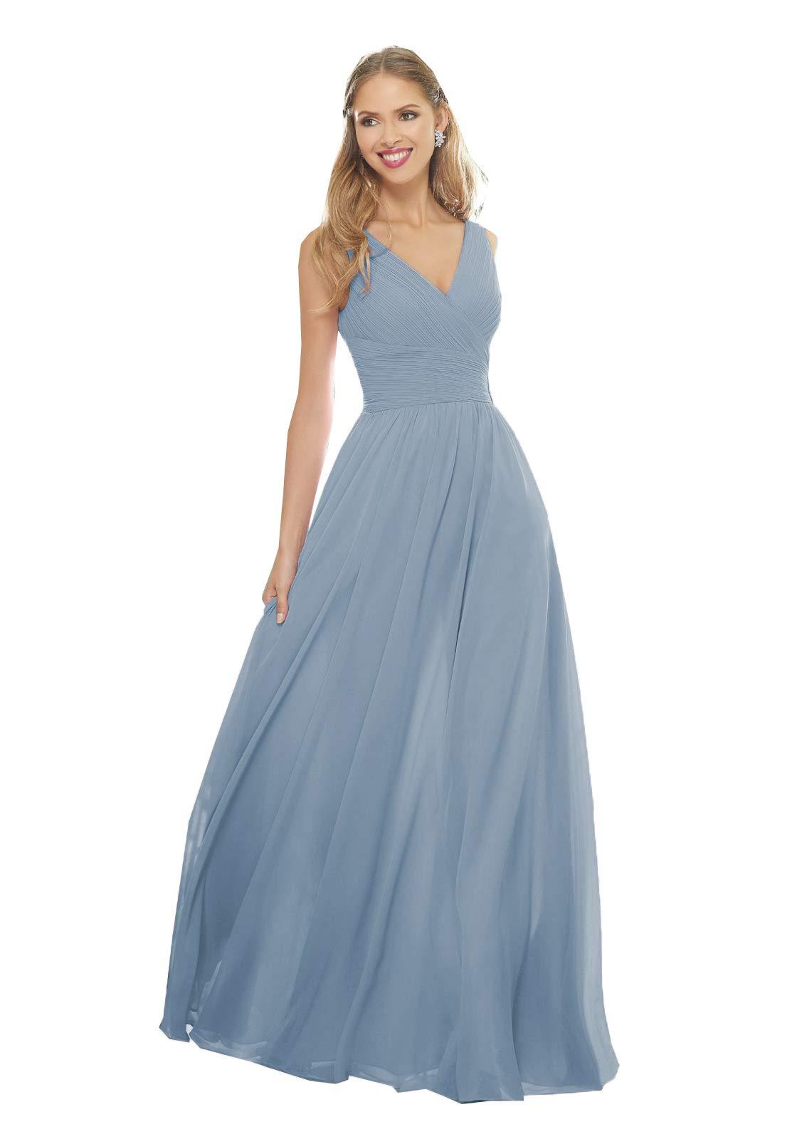 c133891c58 YMSHA Women's Beach Wedding Bridesmaid Dress Chiffon V Neck Evening Formal  Gowns with Pockets Slate Blue 14