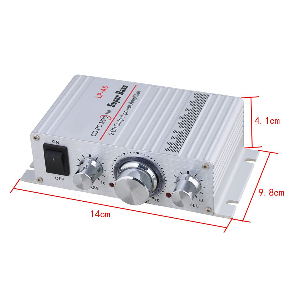 Amplificador de potencia BQLZR de salida de audio digital LP-A6 de tama/ño peque/ño de color plateado 12/V 2/A CC de alta fidelidad 2/CH y SD//US para coche