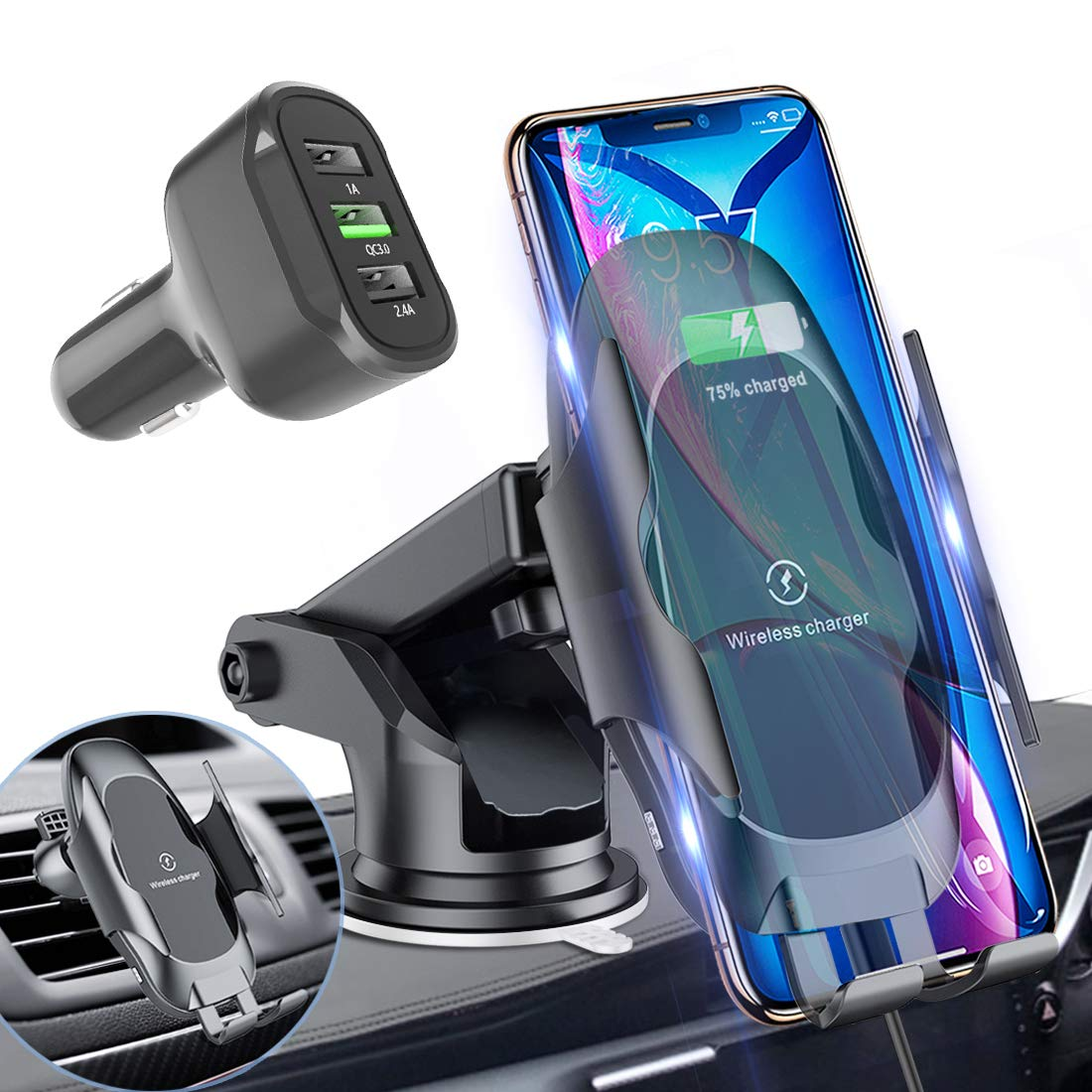 Homder Automatic Clamping Wireless Car Charger Mount,10W/7.5W Qi Fast Car Charging,Dashboard Air Vent Phone Holder with QC 3.0 Fast Charger,Compatible with Samsung S10/S9/Note 9,iPhone8/Max/X/XR by Homder