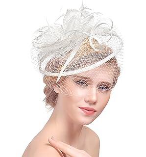 Coiffure Femme Coiffure en Forme du Chapeau Accessoiresu Anniversaire  Mariage Fête Cérémonie de Plume Filet avec 7443ea0ef71