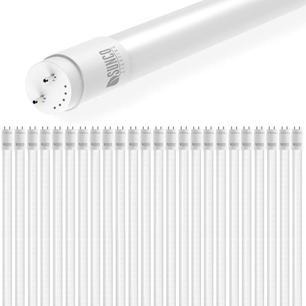 Sunco Lighting 24 Pack 4FT T8 LED Tube, 18W=40W Fluorescent, Frosted Cover, 5000K Daylight, Single Ended Power (SEP), Ballast Bypass, Commercial Grade - UL & DLC Listed