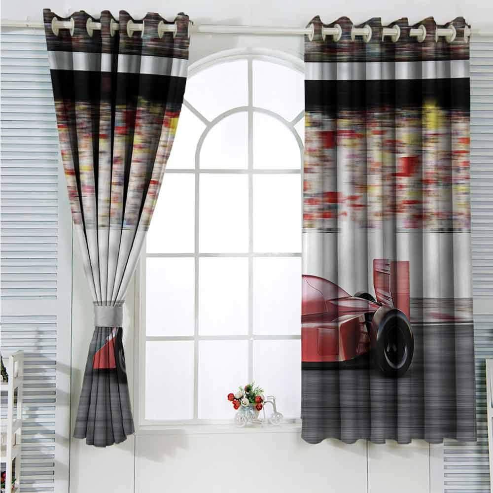 Cars Grommet Creative Blackout Curtains Red Race Car Side View Suitable for Bedroom Patio Sliding Door Cartoon Printed Nursery Room Boys Girls Bedroom Kids Room Living Room Dorm 55x39