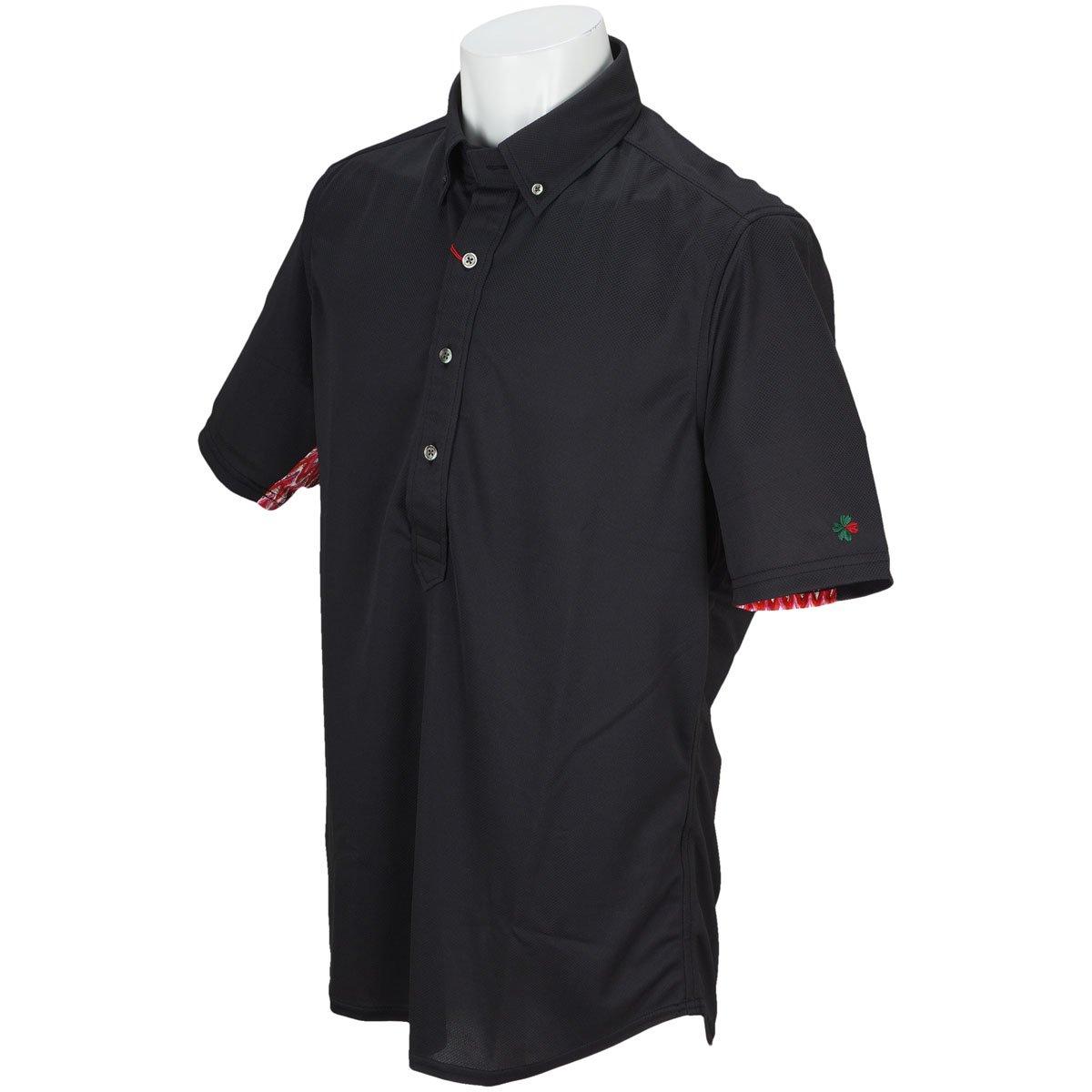 ブラッドシフト BLOOD SHIFT 半袖シャツポロシャツ スリーブアレンジボタンダウン半袖ポロシャツ B07BZLRTR4 46|ブラック ブラック 46