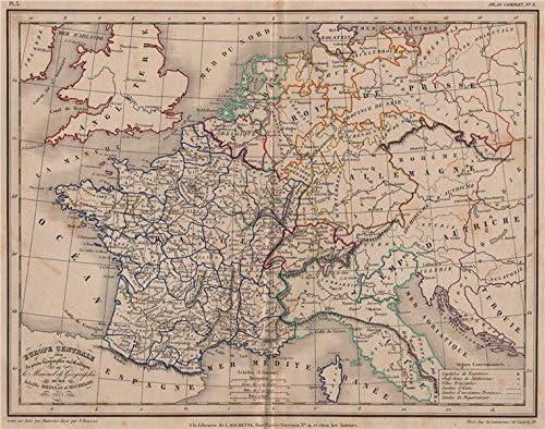 Europa Centrale Por meissas & michelot – 1861 – Old Antiguo Mapa ...
