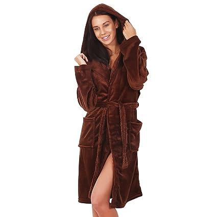 DecoKing Albornoz XL Corto Mujer Hombre Unisex Capucha Bata Microfibra Suave Agradable Ligero Fleece Marrón Chocolate