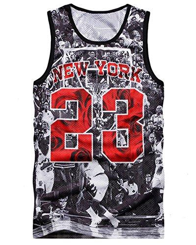 Chiclook Cool Hipster Harajuku Men New York 23 Tank Top Basketball 3D Vest Jersey Sleeveless (Tops By Harajuku Lovers)