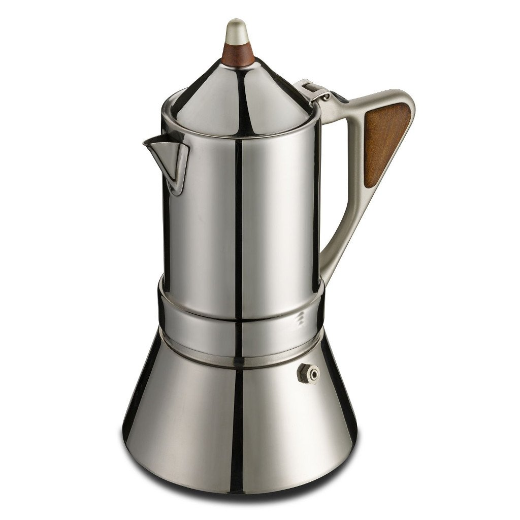 GAT Regina Caffettiera - Stove Top Espresso Coffee Maker - Induction Suitable - Stainless Steel - 4/2 Cups