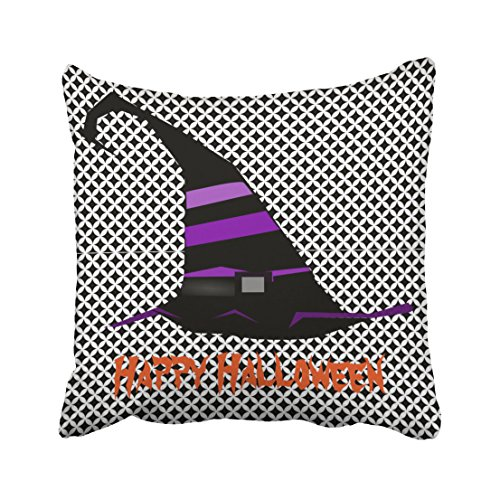 Accrocn Fun Happy Halloween Witch Hat Throw Pillow Covers Cushion Cover Case 18x18 Inches Pillowcases One Sided (Cosmic Kids Yoga Halloween)