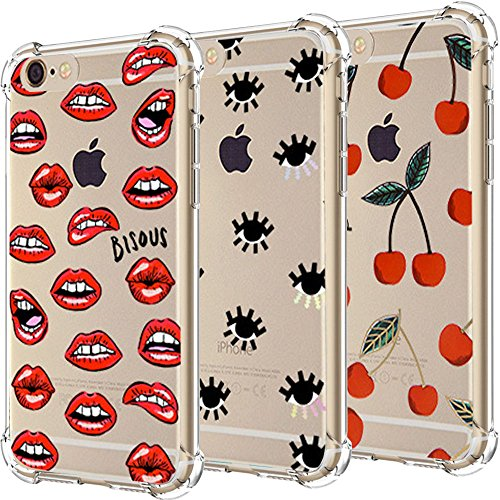 iPhone 6 6S Plus Case, iPhone 6 6S Plus Shockproof Case, [3-Pack] CarterLily Eyes and Lips Pattern Design Shock-Absorbing Soft Clear Flexible TPU Back Case for iPhone 6/6S Plus - (Lip Case)