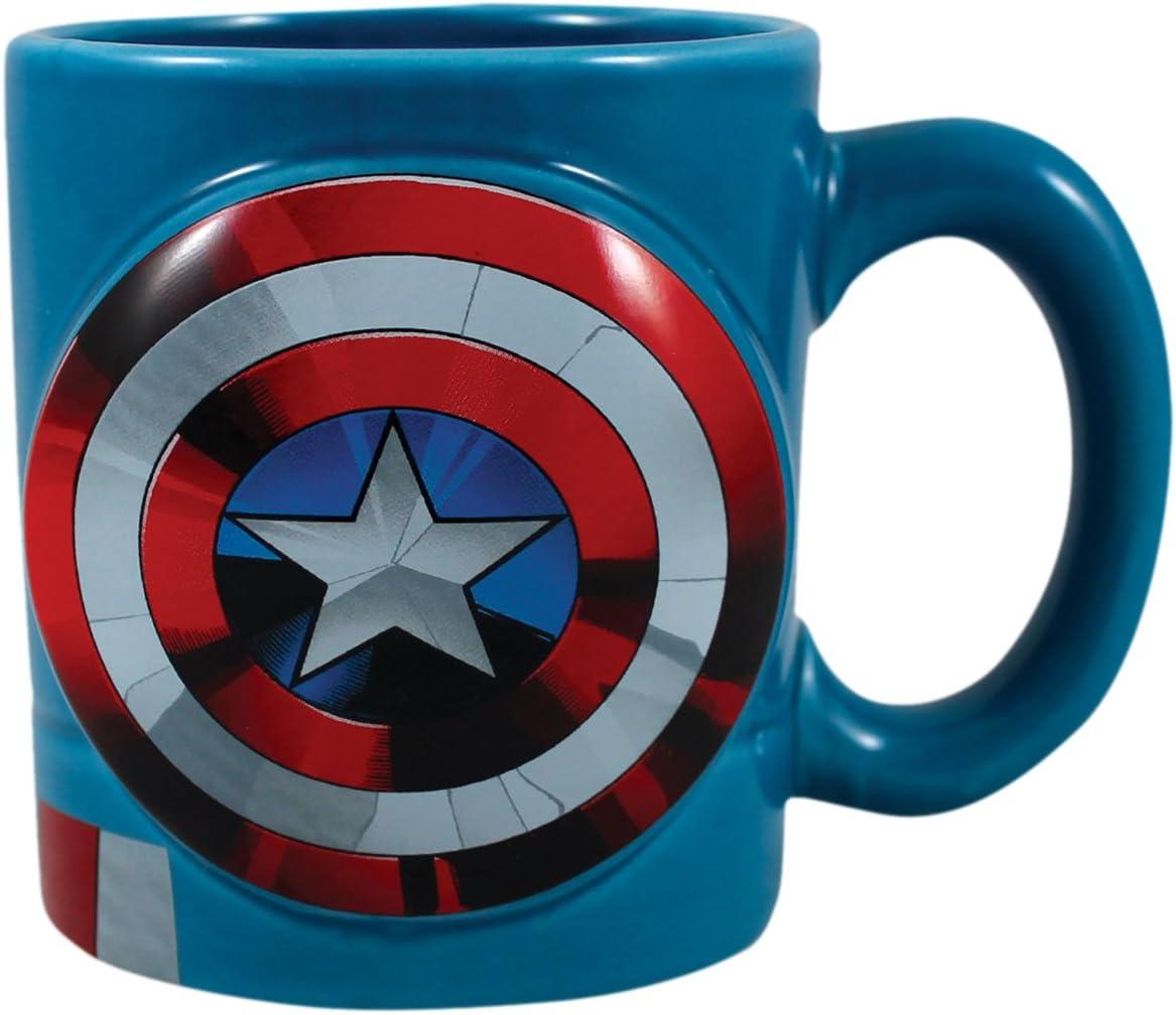 Vandor Marvel Captain America Shaped Ceramic Soup Coffee Mug Cup, 20 Ounce