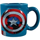 Vandor Marvel Captain America Shaped Ceramic Soup Coffee Mug Cup, 20 Ounce