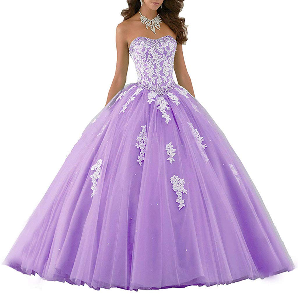 purplec Vantexi Women's Elegant Lace Tulle Prom Dress Quinceanera Dresses Sweet 16 Ball Gown