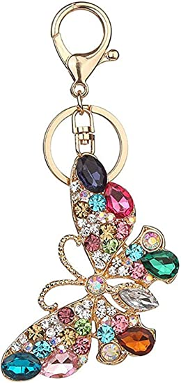 Details about  /Cute Butterfly Head Inlay Rhinestone Key Chain For Car//Bag//Cellphone Key Pendant