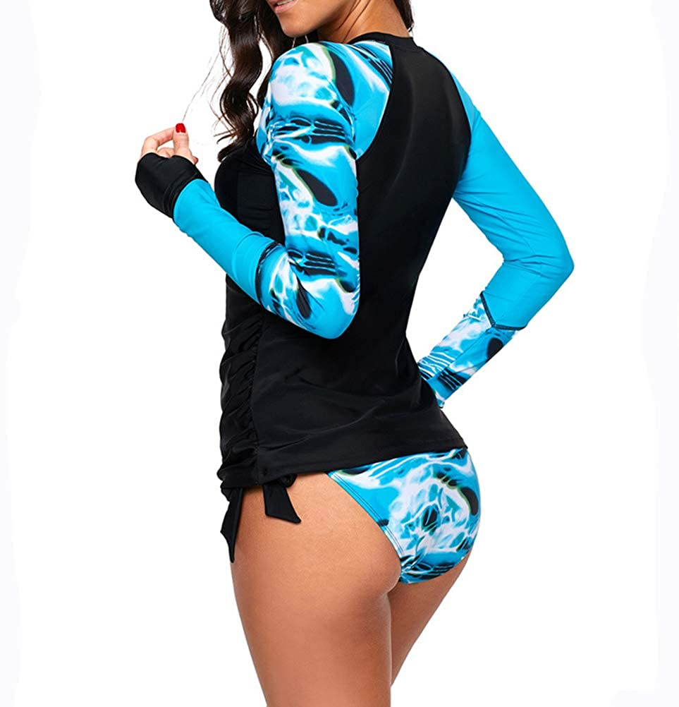 Uinolo Womens Long Sleeves Swimsuit Bikini Surf Top and Shorts Swimwear Rash Guard