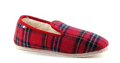 courir chaussures sélectionner pour officiel 2019 authentique Manufacture Degorce - Charentaise Rouge Écossais Tradition- Mixte  Homme-Femme- Enfant Garçon- Fille-Pointure