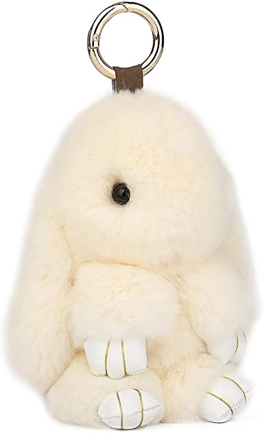 NEW LADIES SMALL FLUFFY CUTE REAL FUR RABBIT BUNNY KEYRING HANDBAG CHARM PENDANT
