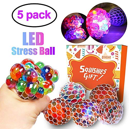 LANDYLO 5 Pack Mesh Stress Ball LED Light Up Glowing Squeeze Grape Anxiety Relief Toys Play Balls Party Favors for Kids Boys Girls Adults Autistic Children ADHD Anxiety Autism Hand Therapy -
