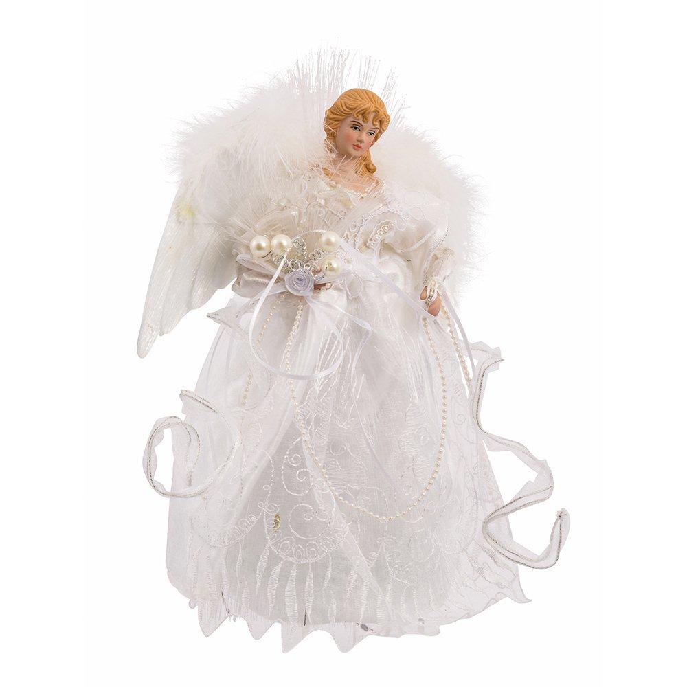 Kurt Adler 12-Inch White and Silver Fiber Optic LED Angel Treetop