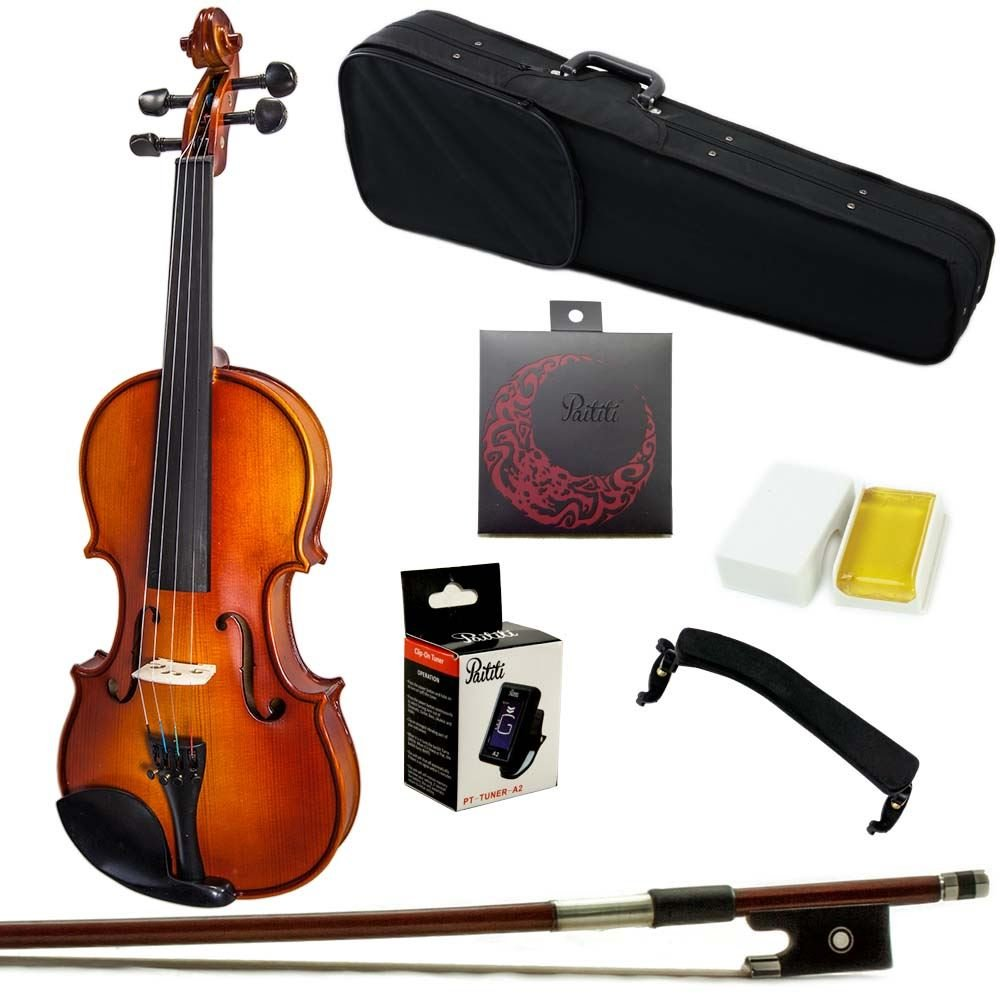 Paititi 1/2 Size Artist-200 Serie Solid Wood Ebony Fitted Violin with Bow Lightweight Case, Shoulder Rest, Extra Strings and Rosin
