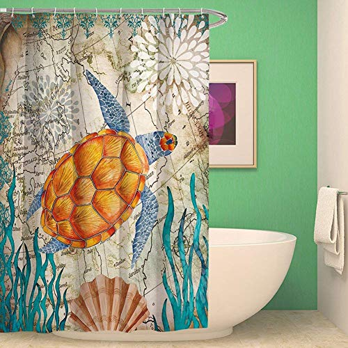 (Afagahahs Waterproof and Anti Mould Bathroom Shower Curtain with Sea Animal On Free Hooks Sea Turtle)