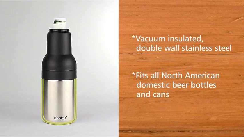 Black Asobu Frosty Beer 2 Go Vacuum Insulated Double Walled Stainless Steel Beer Bottle and Can Cooler with Beer Opener Eco Friendly and Bpa Free FBA/_fc2go
