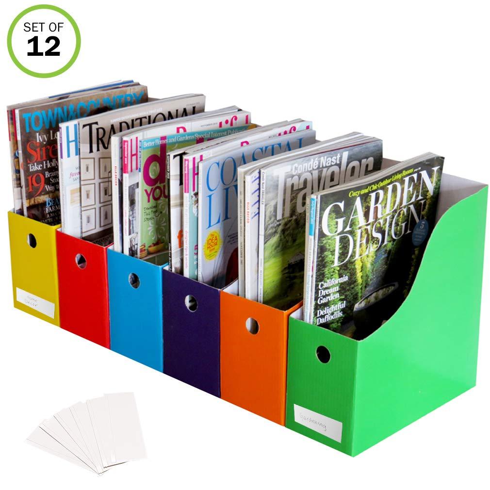 Evelots Set of 12 Magazine File Holders Desk Organizer, File Storage with Labels, Multi-color