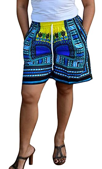 32fed1a8d2d Fensajomon Womens African Print Dashiki Drawstring Wide Leg Beach Short  Pants at Amazon Women s Clothing store