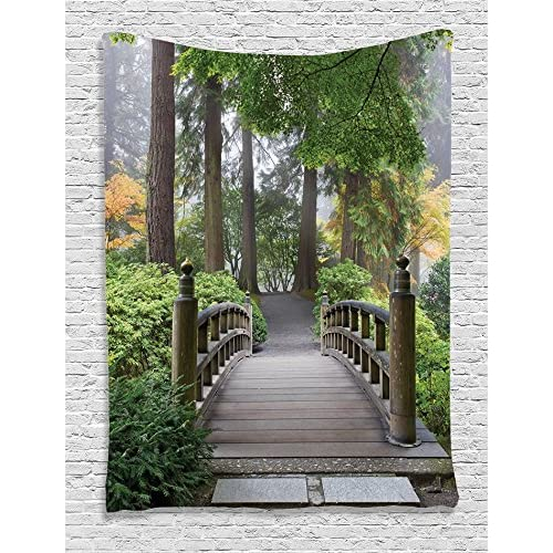 Ambesonne Apartment Decor Collection, Foggy Morning Wooden Bridge At Japanese  Garden With Various Types Of