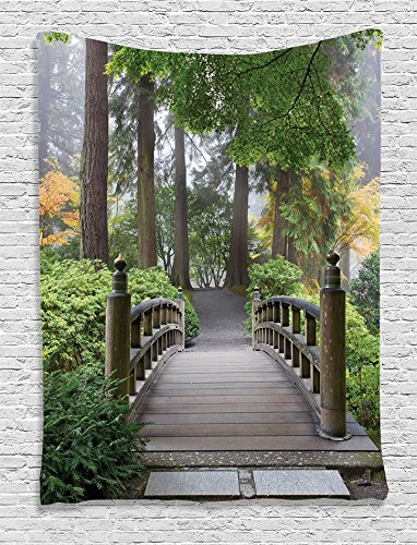 Ambesonne Apartment Decor Collection, Foggy Morning Wooden Bridge at Japanese Garden with Various Types of Trees in Autumn, Bedroom Living Room Dorm Wall Hanging Tapestry, Beige Green from Ambesonne