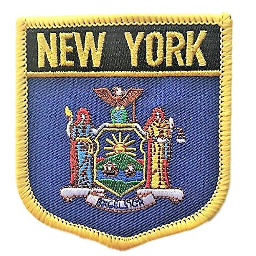 New York (NY) Flag Badge Iron On/Sew-on Patch