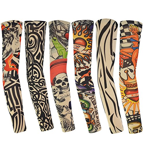 Dxhycc 6pcs Temporary Fake Slip on Tattoo Arm Sleeves Stockings, Temporary Tattoo Arm Sunscreen Sleeves, Designs Skull, Tiger, Crown Heart, Tribal Shape, Unisex Stretchable Cosplay Accessories